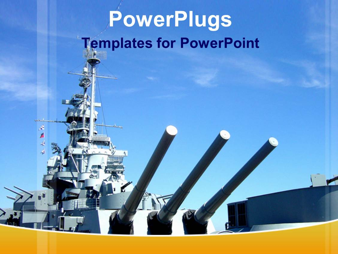 Powerplugs Powerpoint Template With Naval Gun Ship With Blue Sky Military
