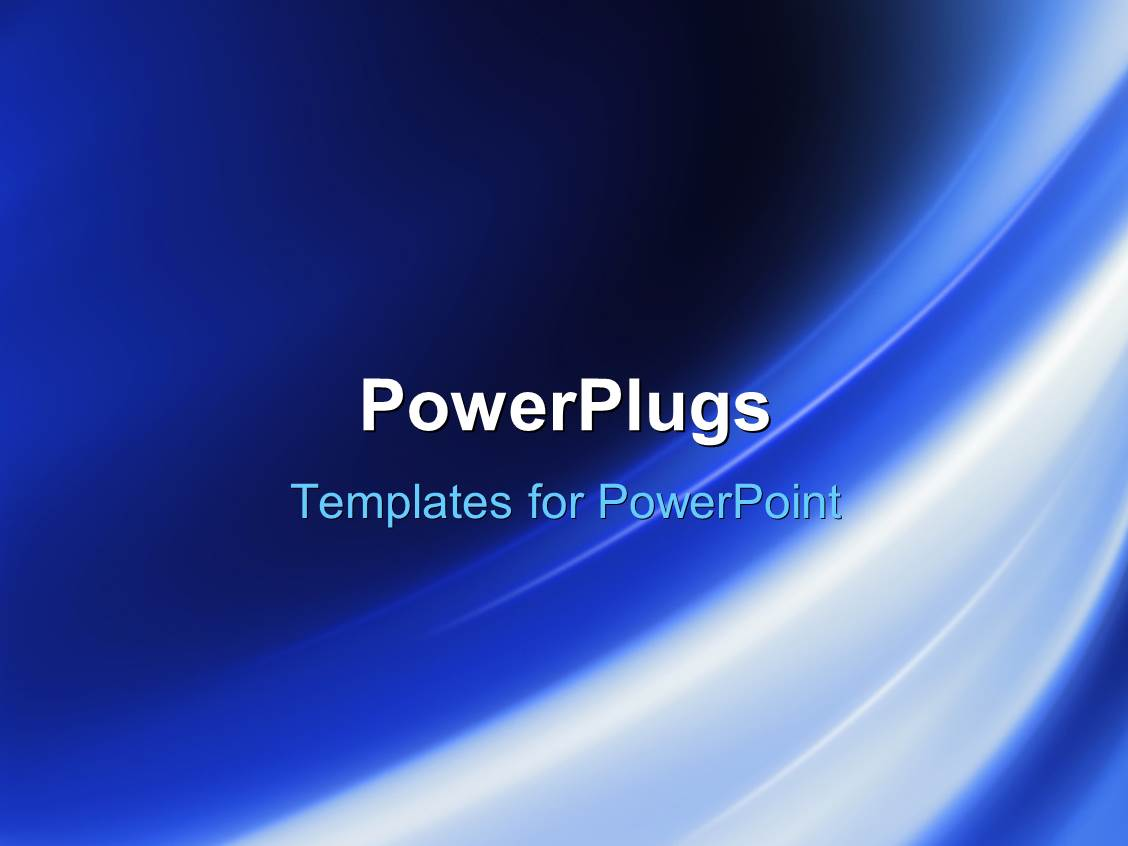 Powerplugs Powerpoint Template With Navy Blue Background With Glowing Curved Striped