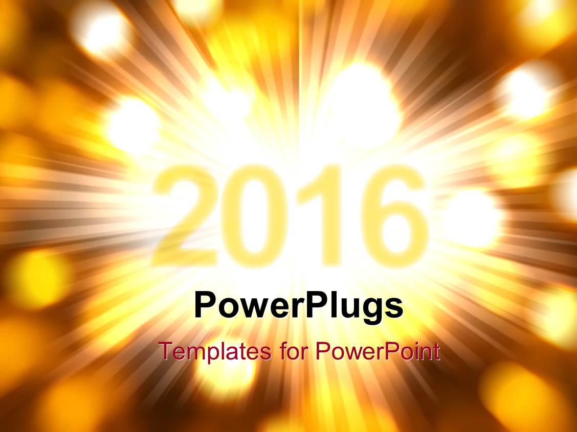PowerPoint Template: New Year 2016 with glowing rays and lights ...