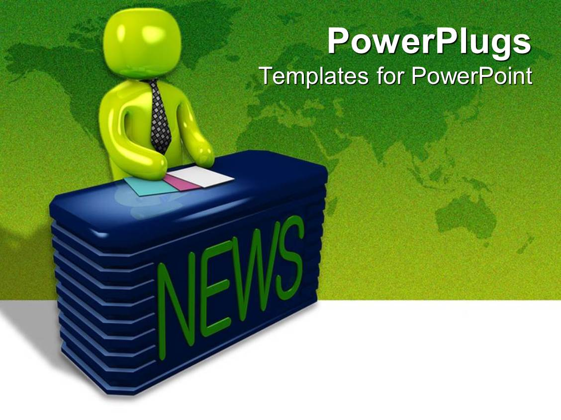 powerpoint template: a newscaster siting behind his desk ready to, Presentation templates