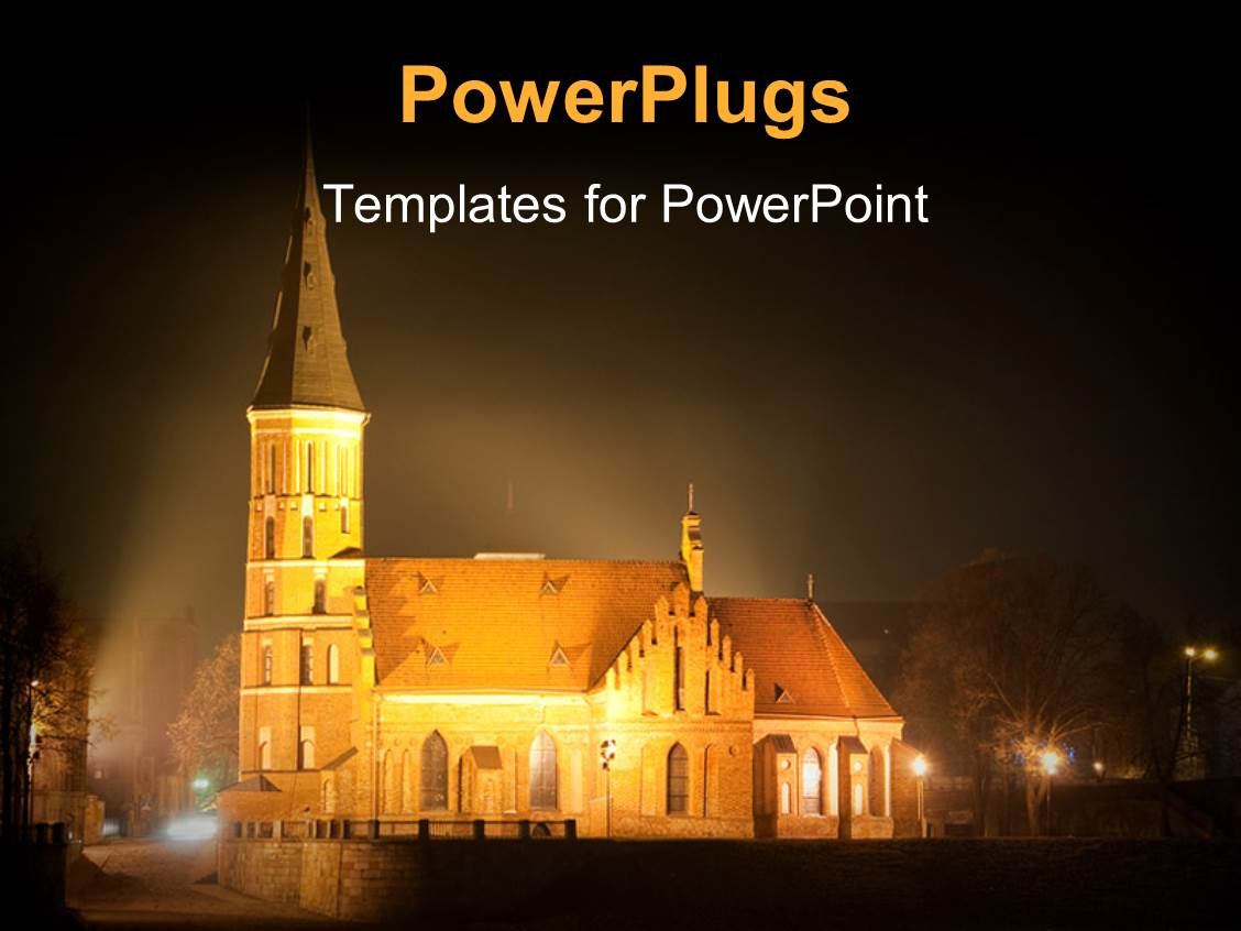 powerpoint template: blue and brown catholic church on a blue, Powerpoint templates