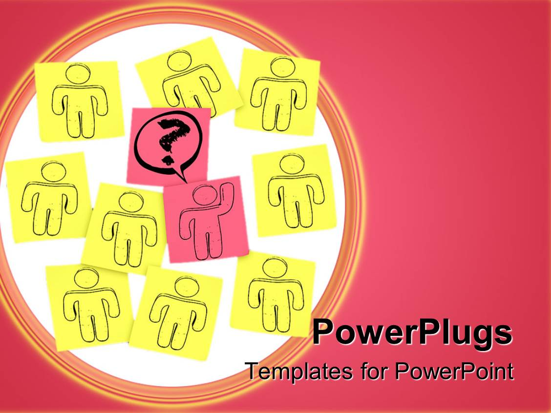 PowerPoint Template Displaying Nine Drawings of Human Characters on Yellow Note Pads with a Pink Center One