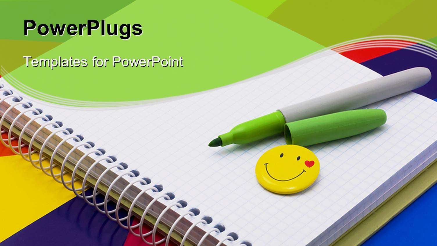 Notebook powerpoint templates crystalgraphics ppt theme having notebook felt tip pen of green badge smile on toneelgroepblik Choice Image