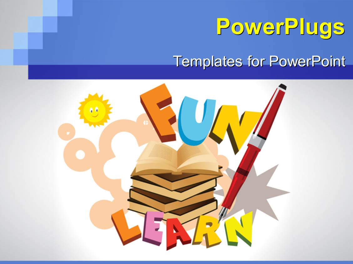 powerpoint template a number of books with the word fun
