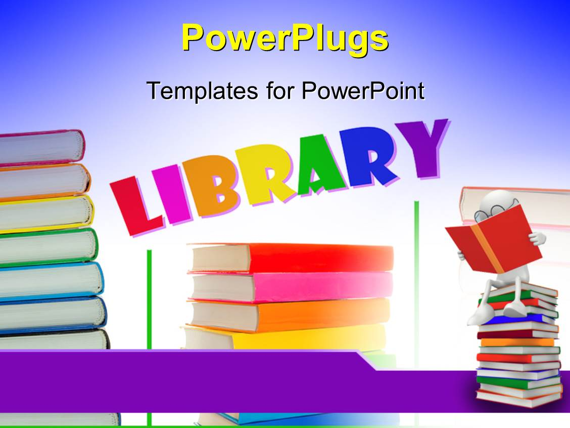 powerpoint template a number of books with the word library 7671. Black Bedroom Furniture Sets. Home Design Ideas