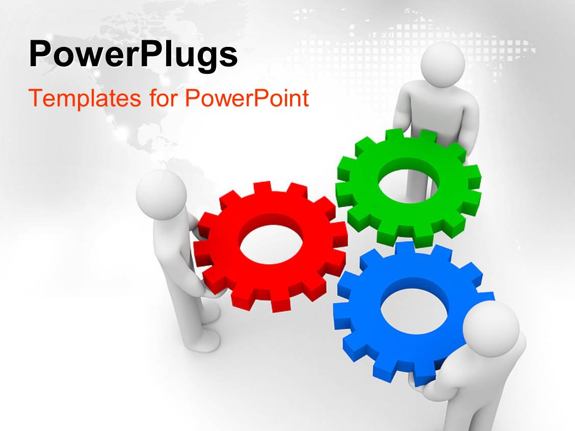 Powerpoint template a number of colorful gears with map for Power plugs powerpoint templates