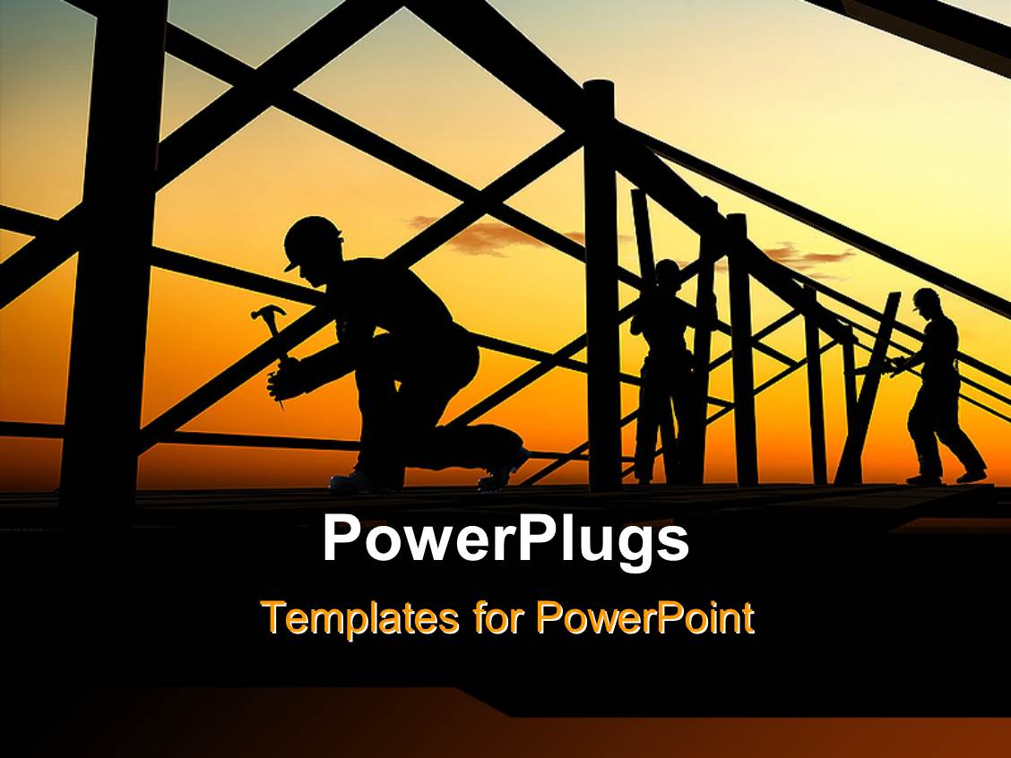 powerpoint template: a number of construction workers building a, Modern powerpoint