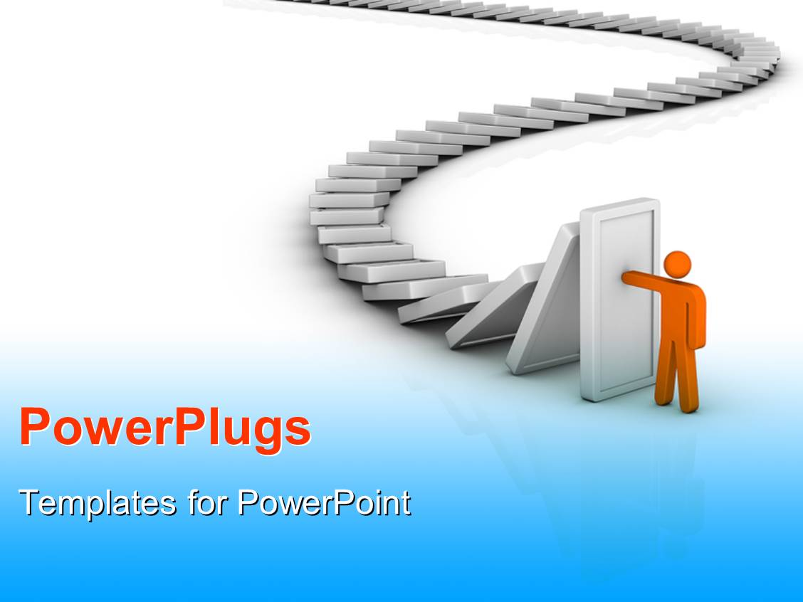 Powerpoint template a number of dominos with a person for Power plugs powerpoint templates