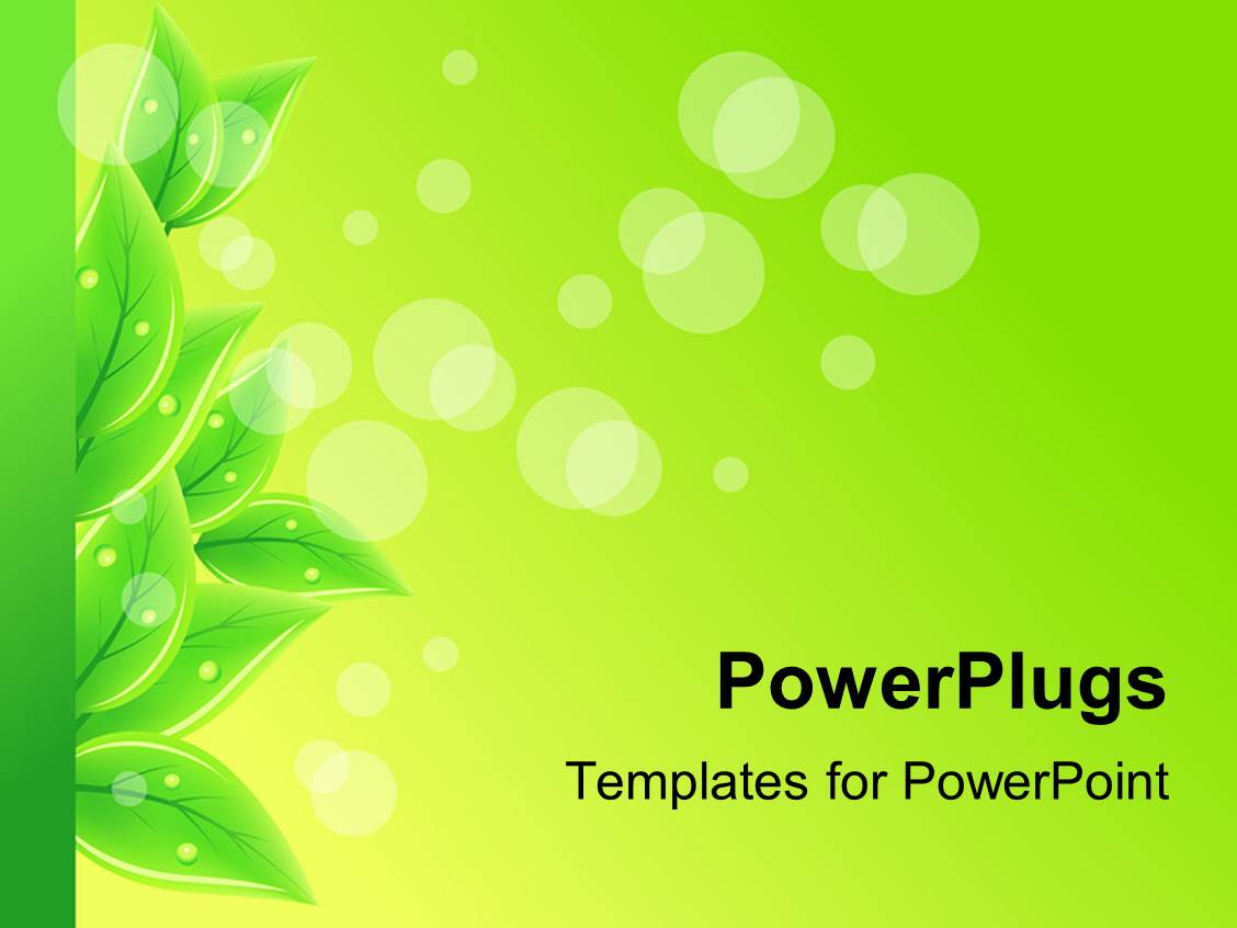 powerpoint template a number of leaves with greenish background