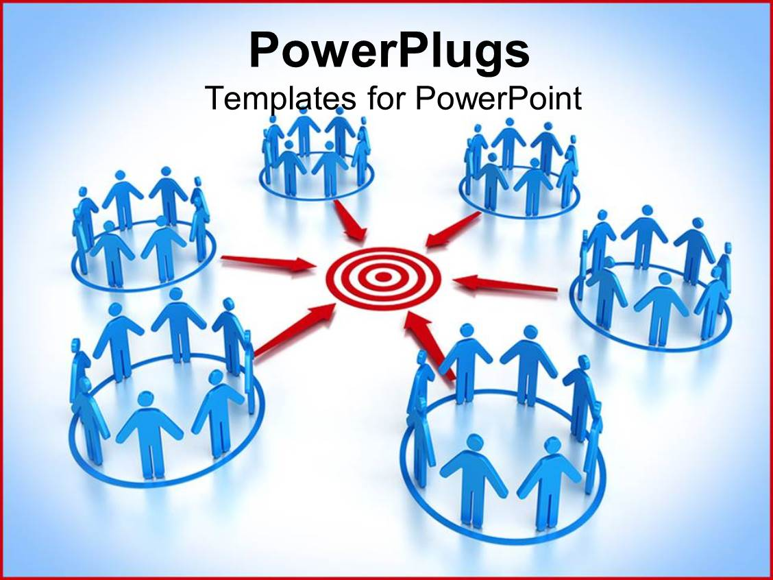PowerPoint Template Displaying a Number of People Connected to a Central Point