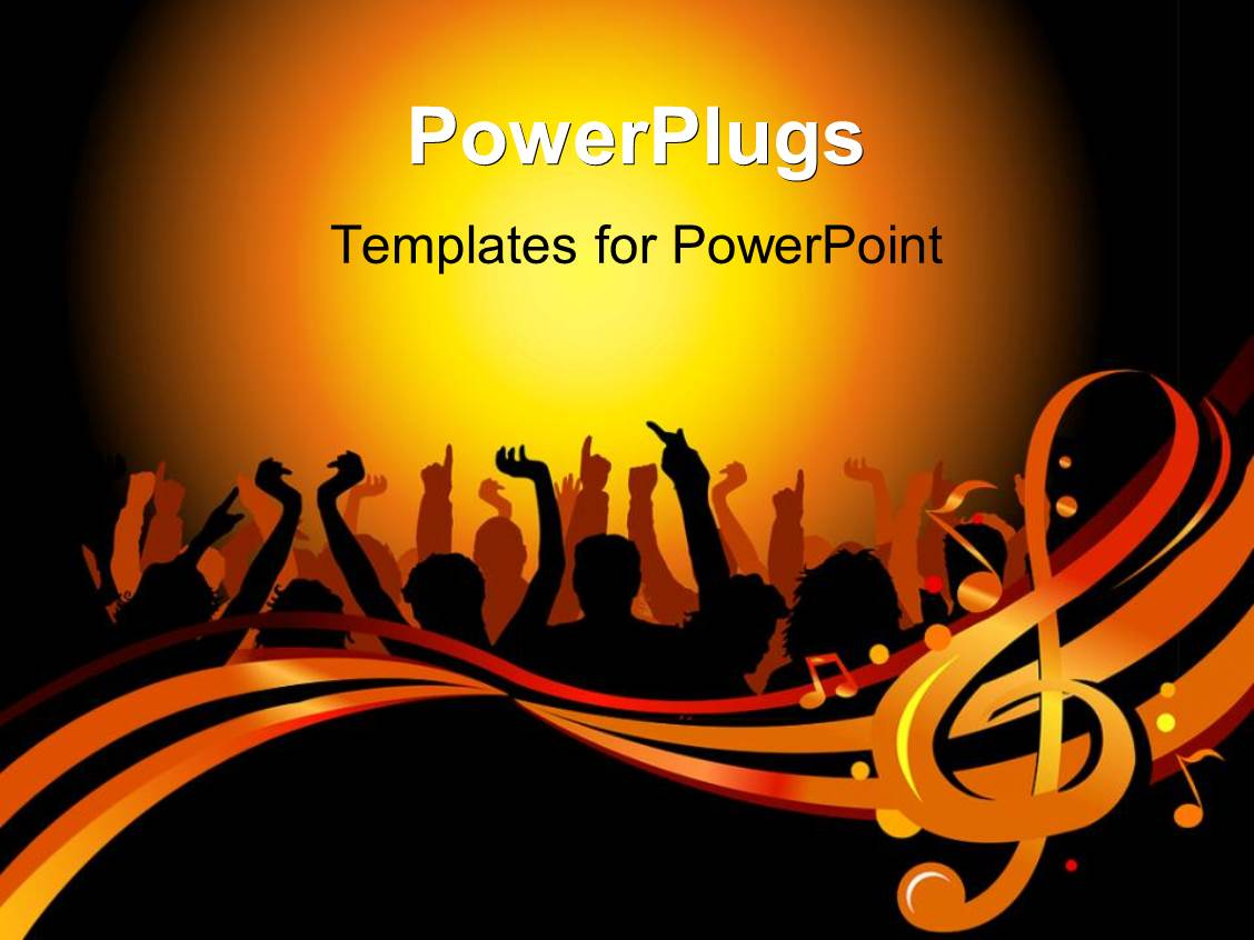 PowerPoint Template Displaying a Number of People Dancing Together with Yellowish Background