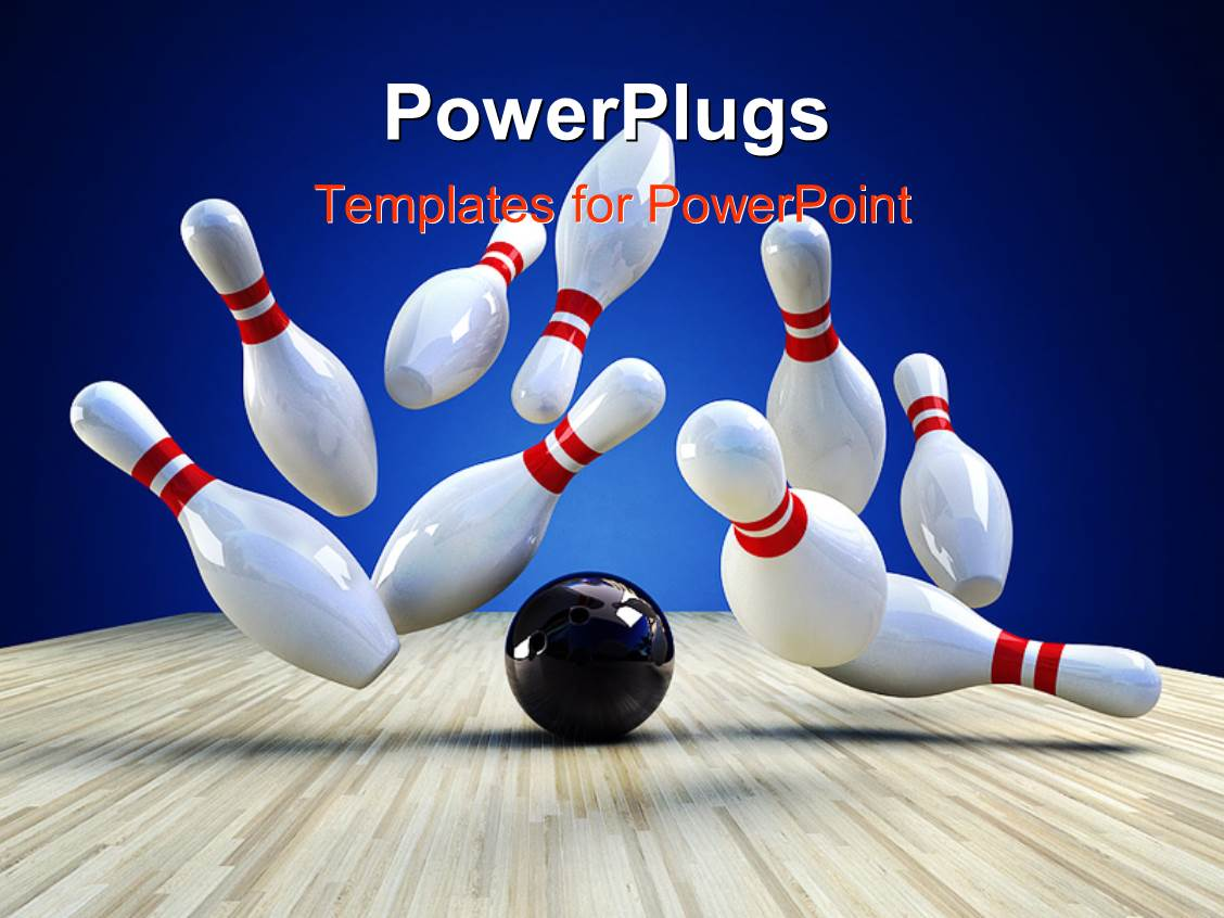 PowerPoint Template Displaying a Number of Pins with a Bowl and Bluish Background