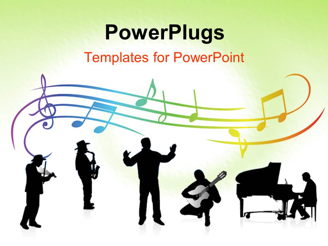 PowerPoint Template Displaying a Number Rof People Producing Music Together with Music Signs in the Background