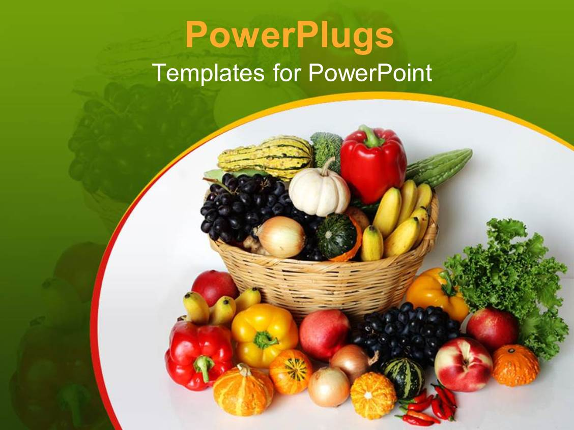 Harvest powerpoint templates crystalgraphics powerplugs powerpoint template with a number of vegetables in the basket and outside of it toneelgroepblik Choice Image