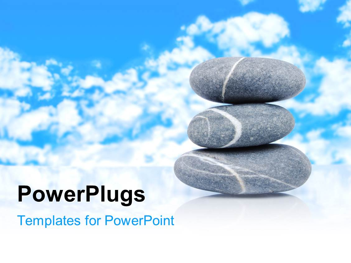 Powerpoint template a number of zen stones with clouds in for Power plugs powerpoint templates