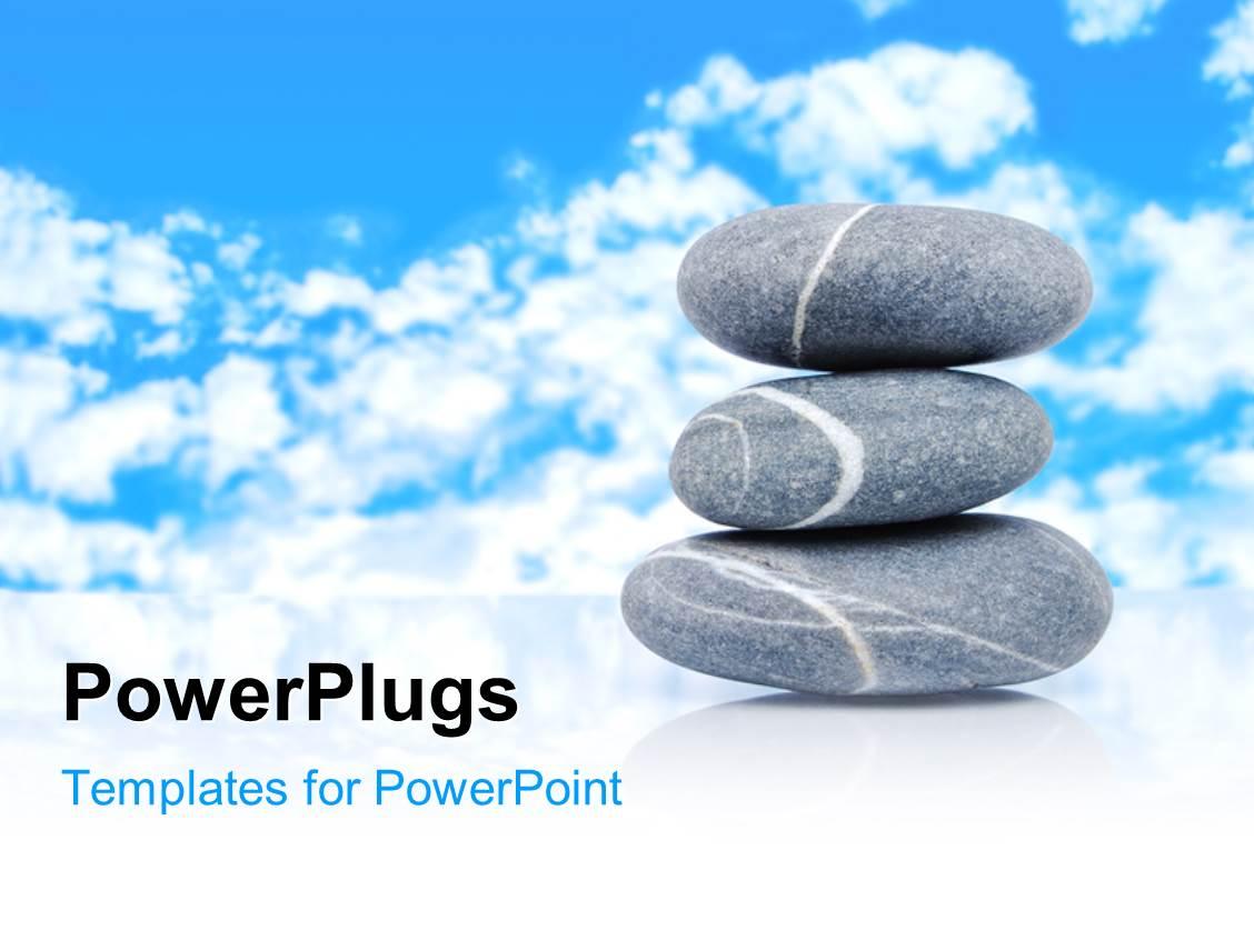 Powerpoint template a number of zen stones with clouds in for Power plugs powerpoint templates