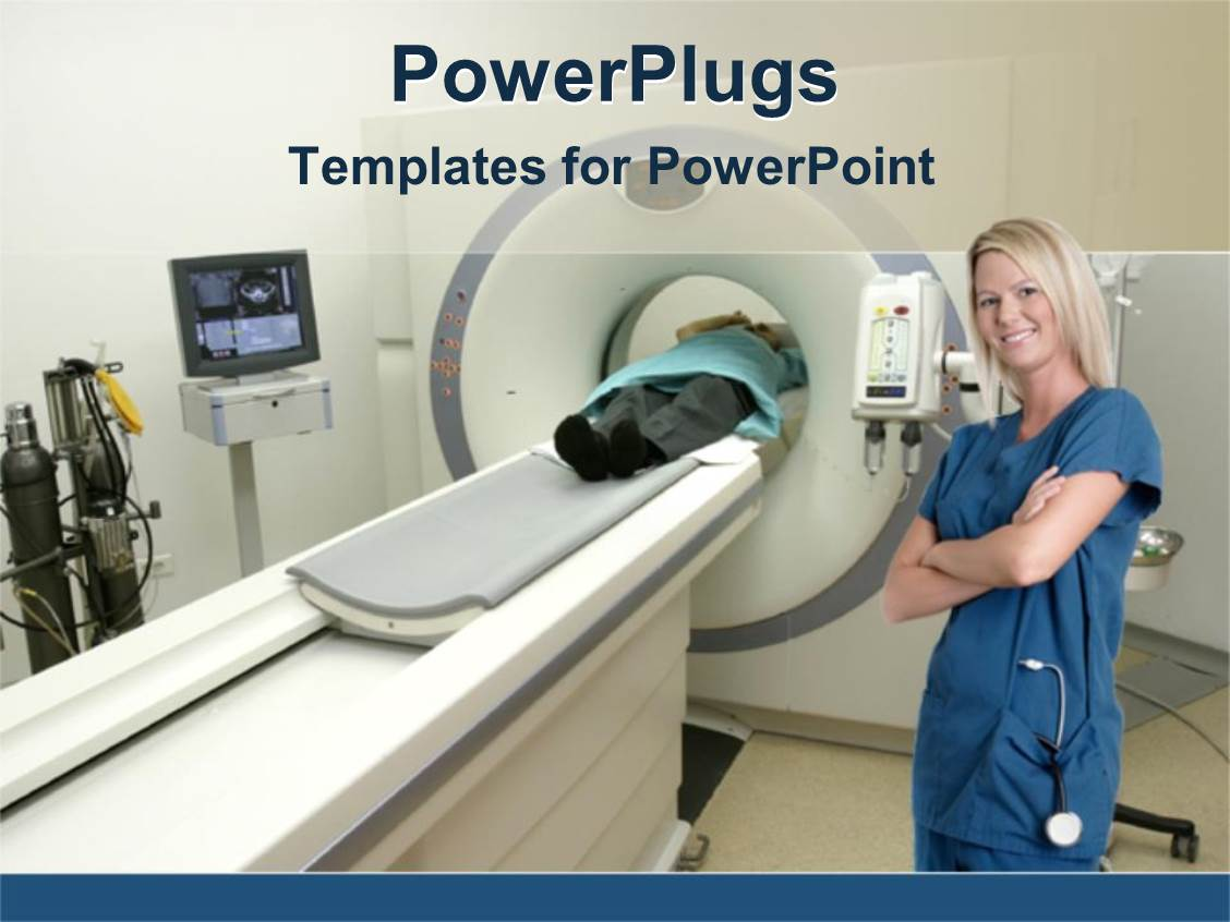Nurse powerpoint templates crystalgraphics beautiful design enhanced with nurse standing next to mri machine with patient toneelgroepblik Choice Image