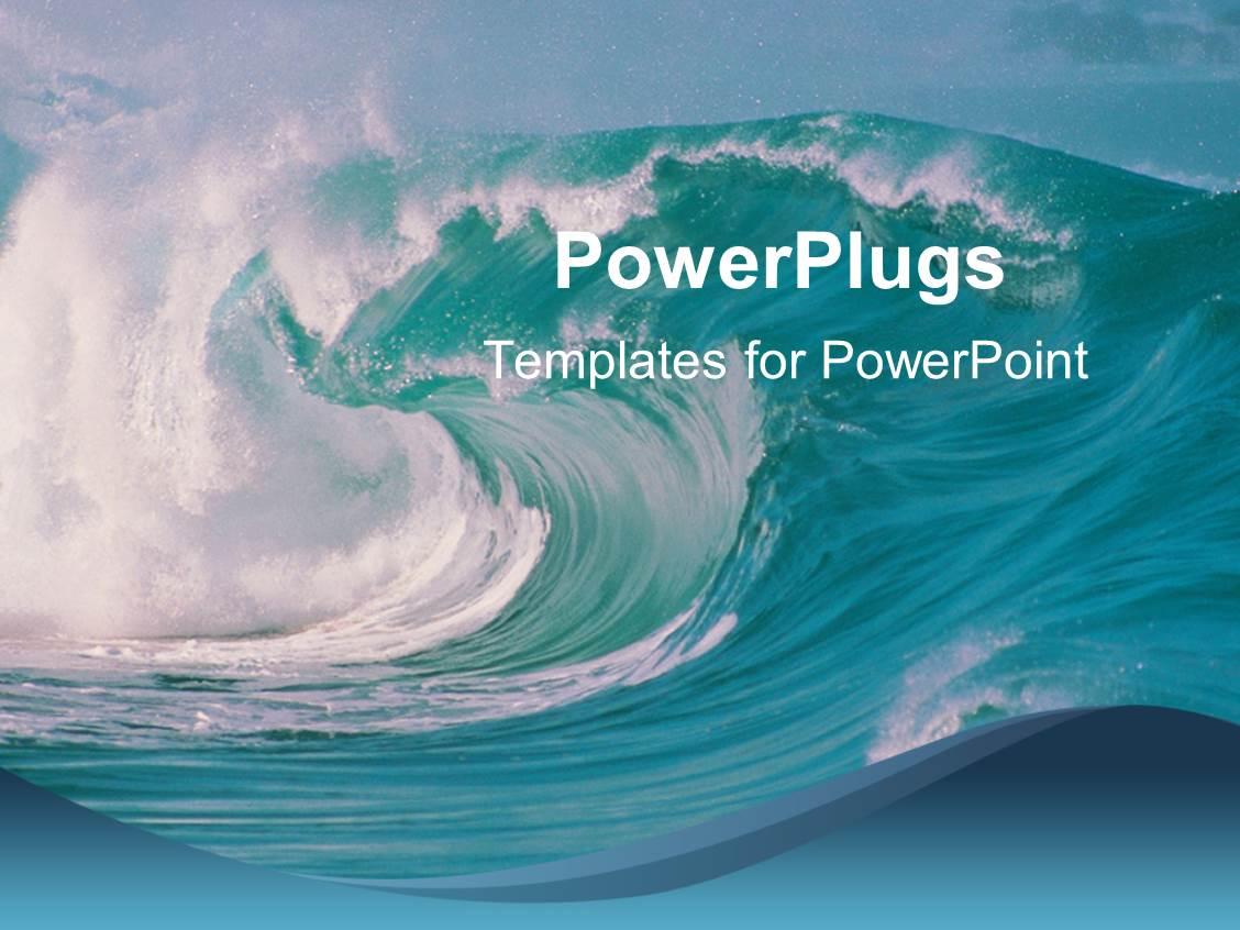 powerpoint template ocean waves crashing beach blue sky