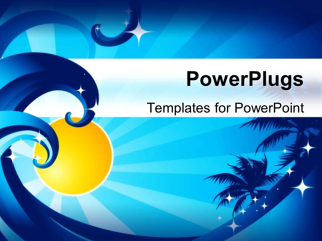 Powerpoint template ocean waves palm trees sunshine stars powerpoint template displaying ocean waves palm trees sunshine stars blue background toneelgroepblik Images