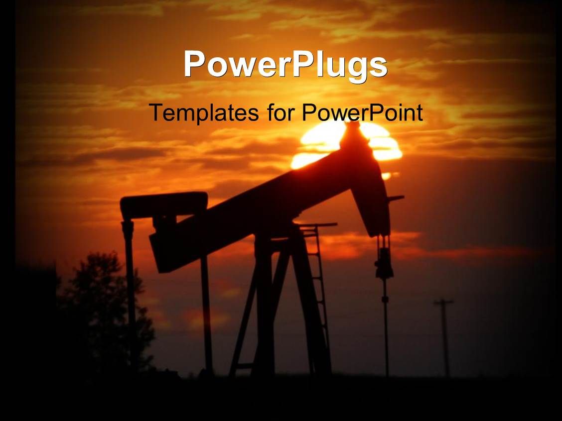 powerpoint template: oil pump jack is silhouettedsetting sun, Presentation templates