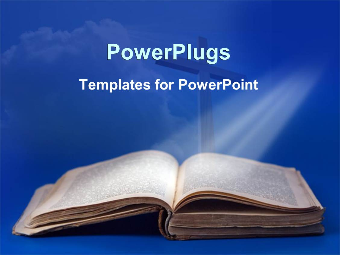Powerpoint template an old bible and cross for religious studies on a blue background 25210 for Religious powerpoint templates free download