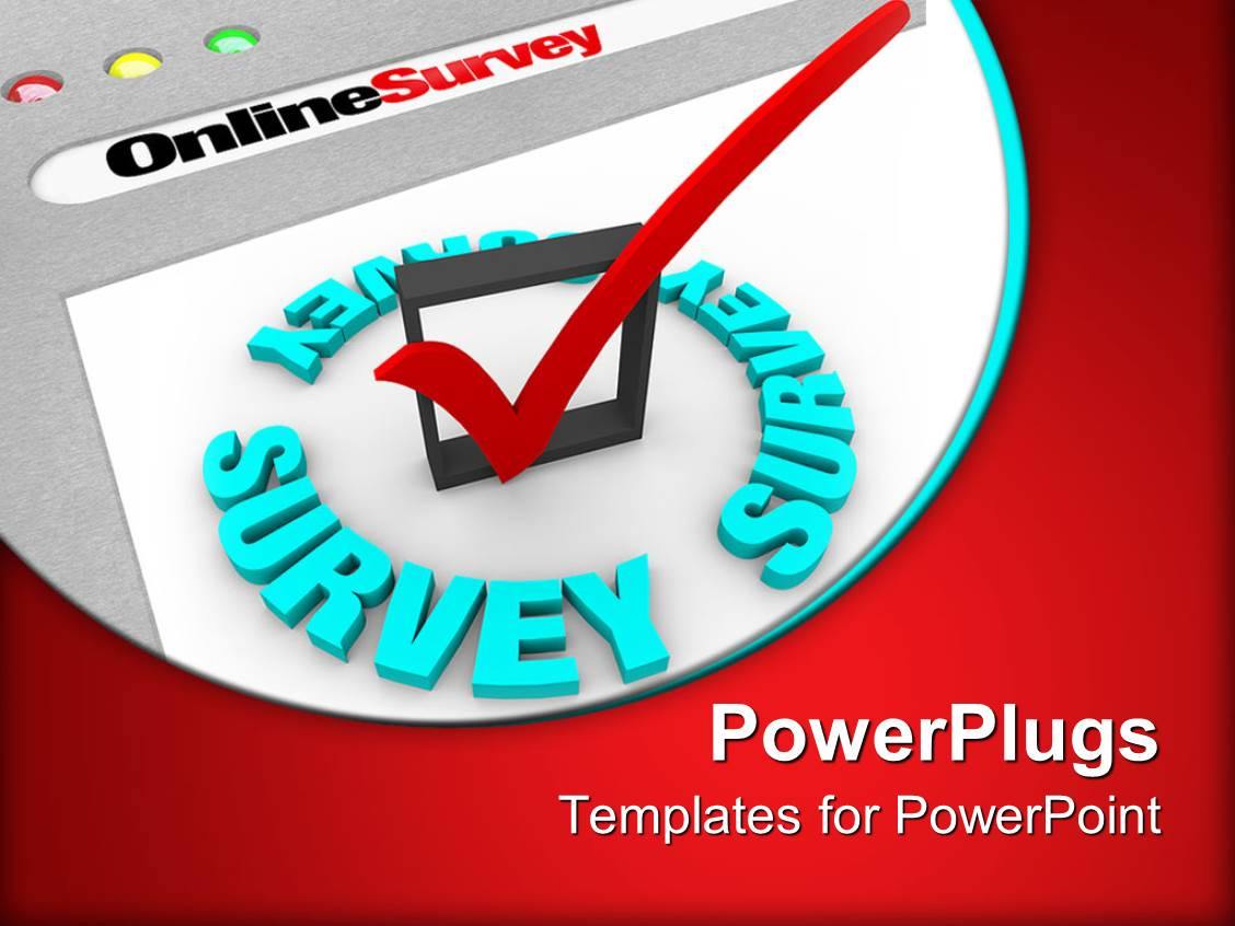 powerpoint template the online survey and the check mark to