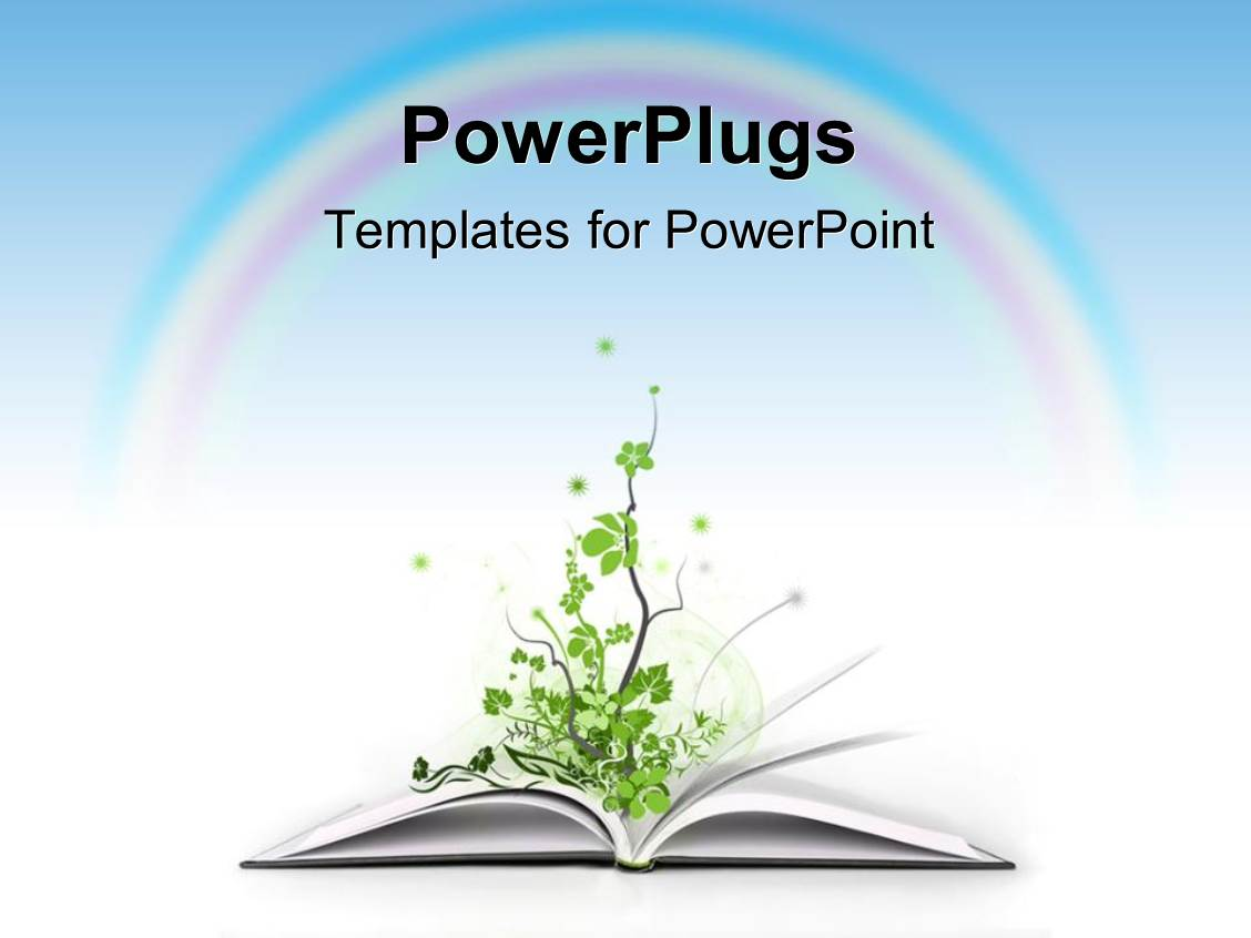 powerpoint template an open book with a plant and a