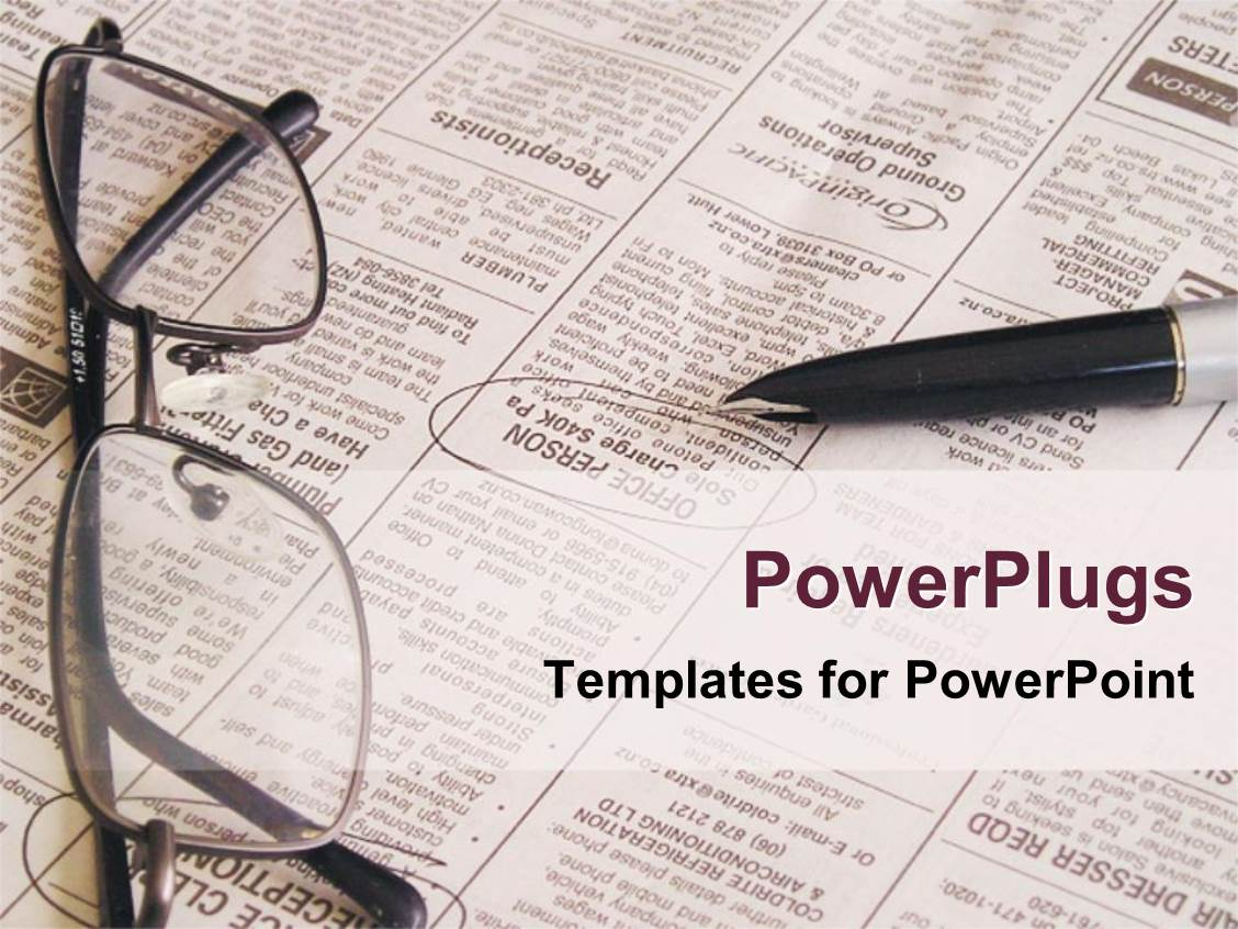PowerPoint Template eye glasses placed on newspaper for reading – Newspaper Powerpoint Template