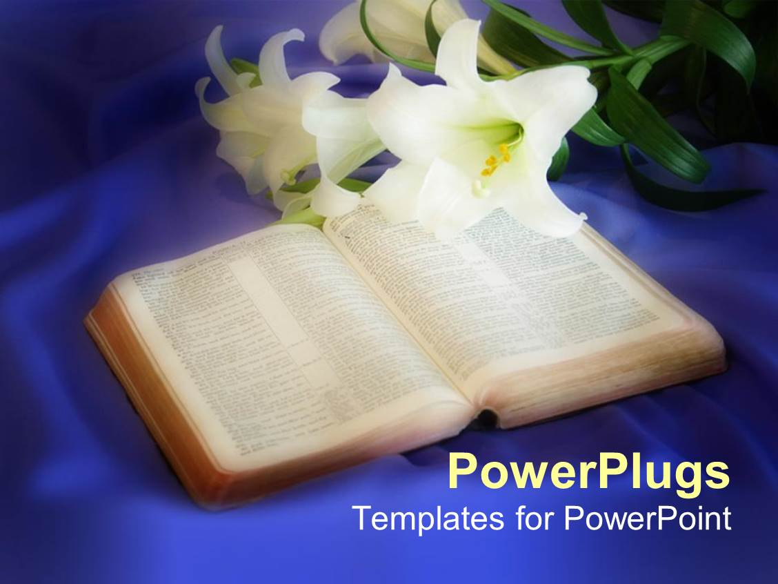PowerPoint Template Displaying Opened Bible with Lilly Flowers on Blue Silk Background