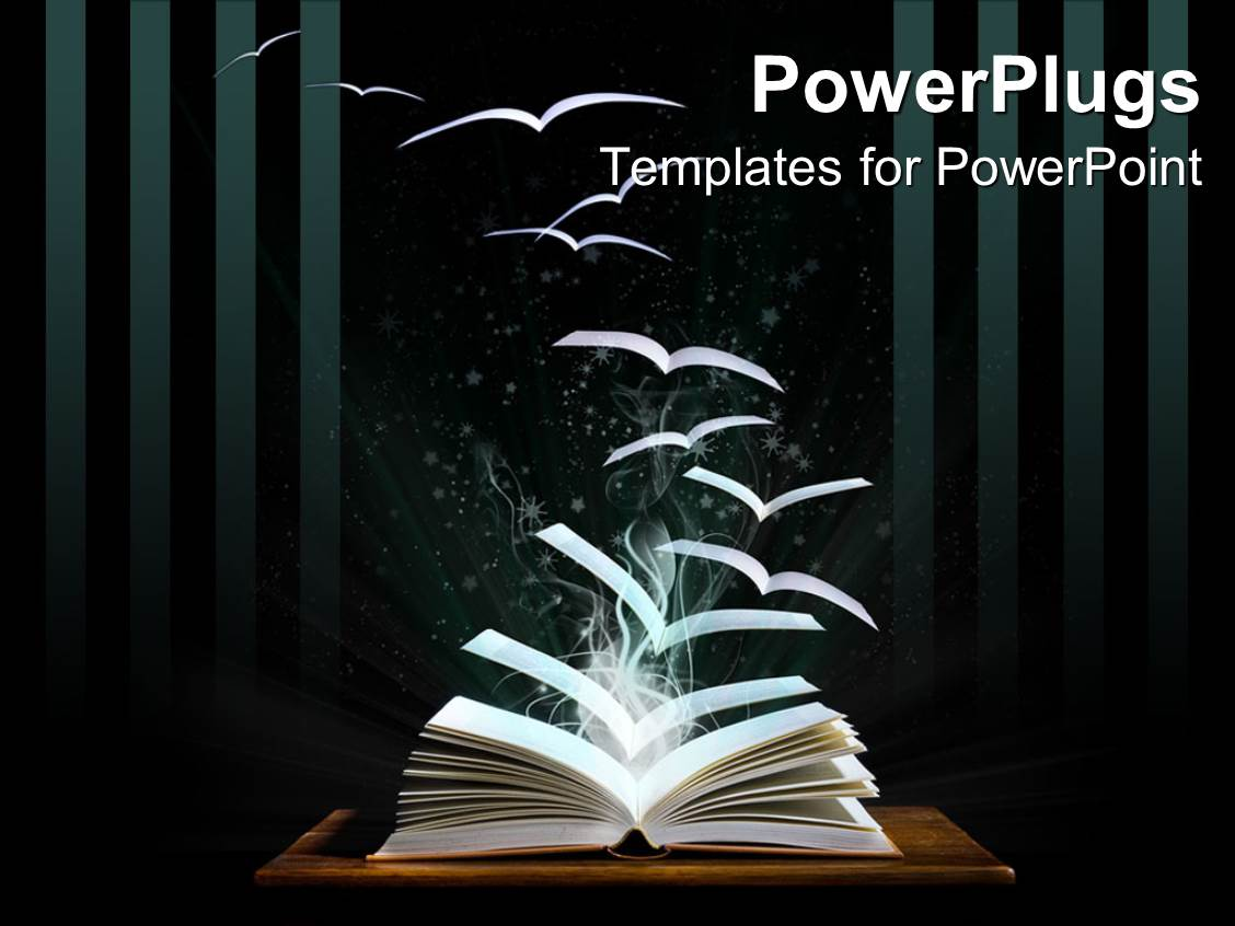 powerpoint template opened book on table with pages