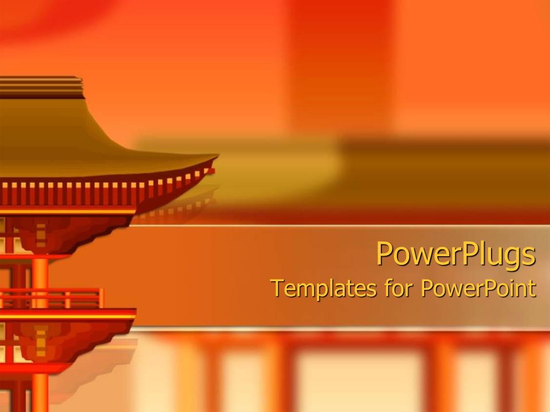 powerpoint template oriental building design on orange