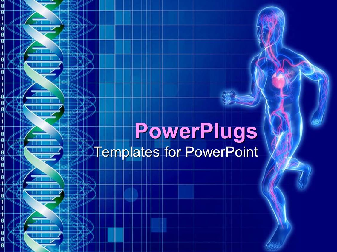 powerpoint template: outline of man running with cardiovascular, Modern powerpoint