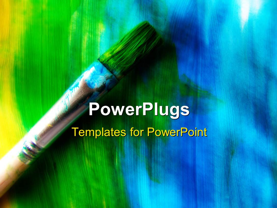PowerPoint Template: Abstract oil brush art background in blue red ...