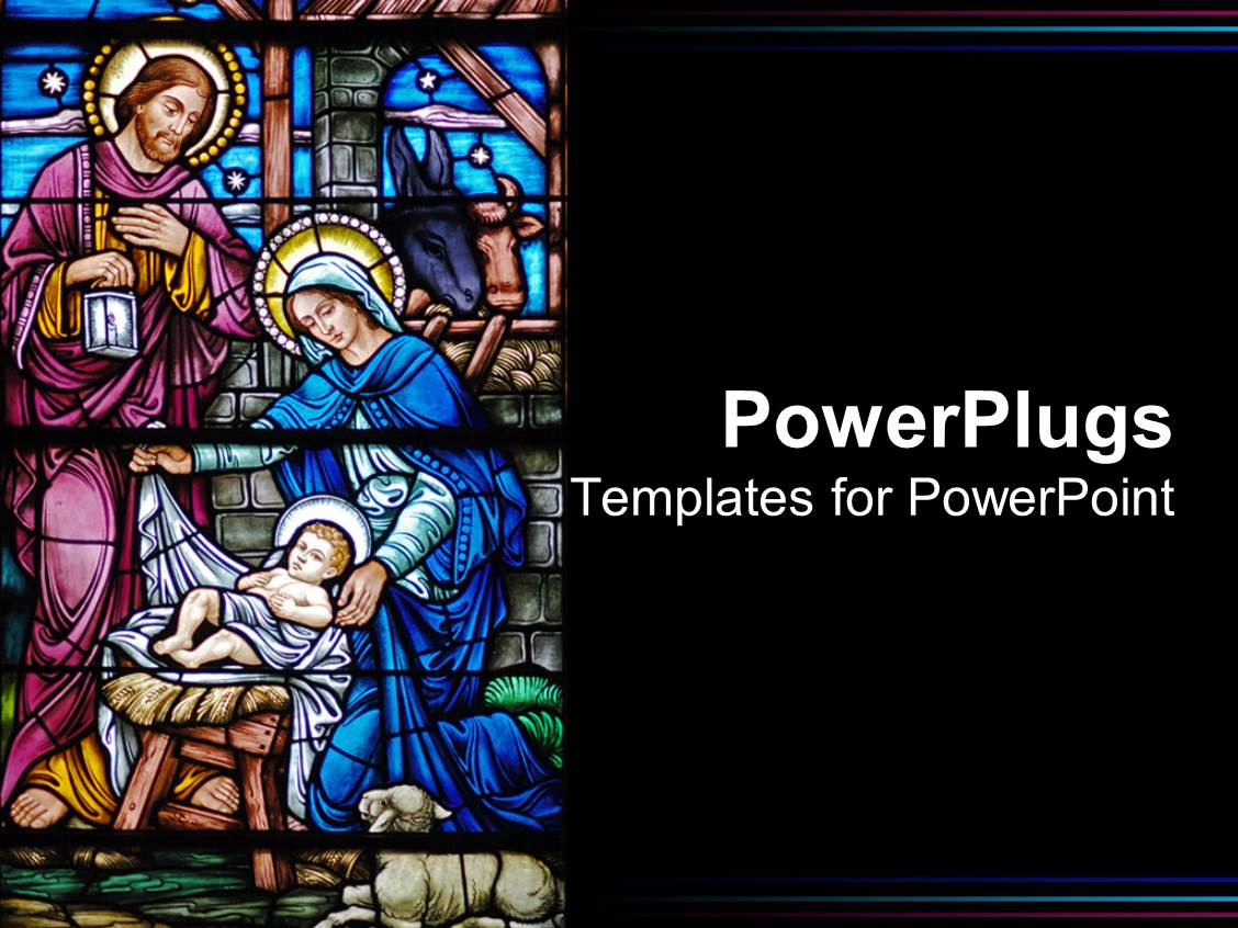 Church powerpoint templates crystalgraphics presentation design with painted church glass window of the birth of jesus toneelgroepblik Choice Image