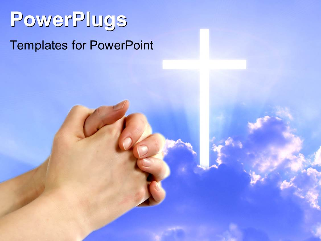 powerpoint template  pair hands folded in prayer next to