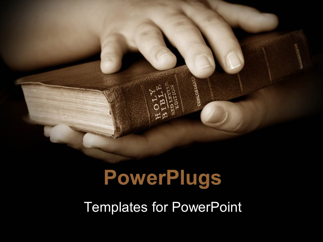 Bible study powerpoint templates crystalgraphics elegant presentation design enhanced with pair hands holding well read holy bible template size toneelgroepblik