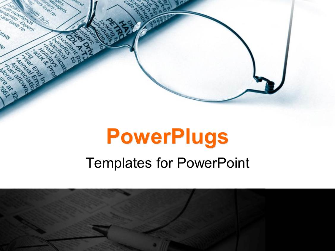 powerpoint template: pair of reading glasses and a newspaper on a, Modern powerpoint