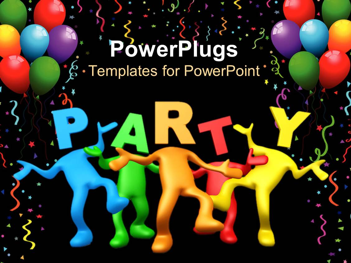 PowerPoint Template: Party celebration balloons birthday dancing black background (23067)