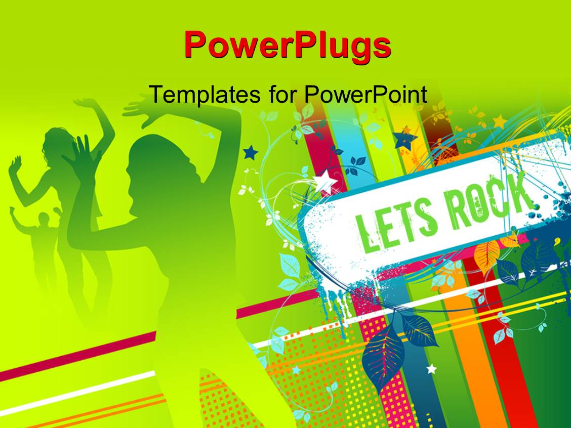 Powerpoint Template Party Depiction With Silhouette Of