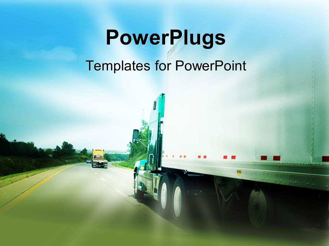 powerpoint template passing a transportation truck on a