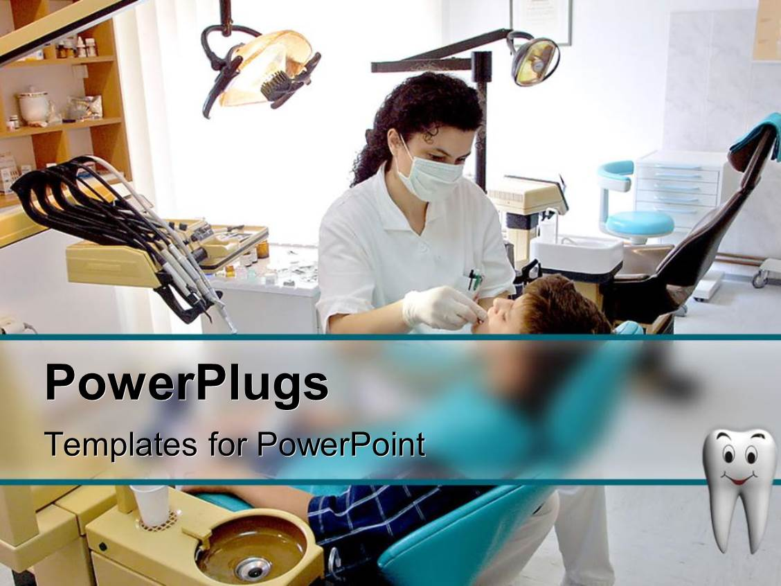 powerpoint template: patient and female dentist in dental office, Modern powerpoint