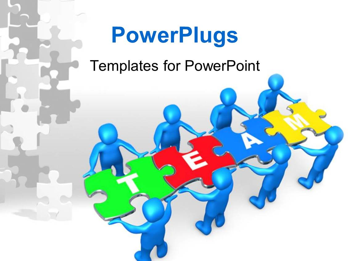 Powerpoint template people holding pieces of a jigsaw for Team building powerpoint presentation templates