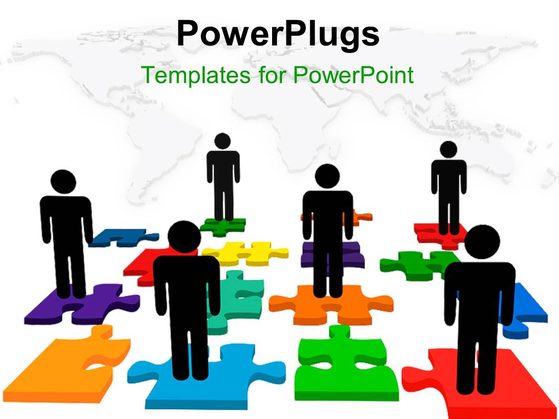 powerpoint template: people on jigsaw puzzle depicting human, Powerpoint templates