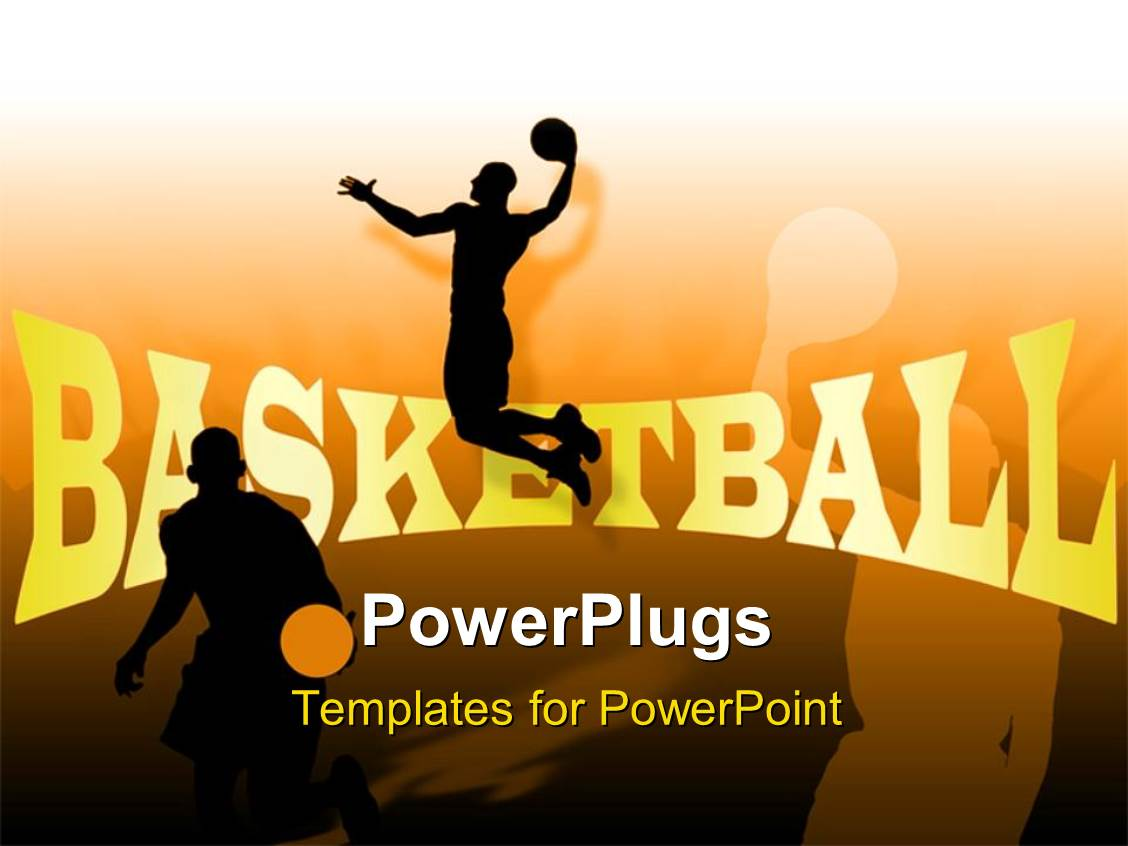 powerpoint template people playing basketball with their shadows in background 2910. Black Bedroom Furniture Sets. Home Design Ideas