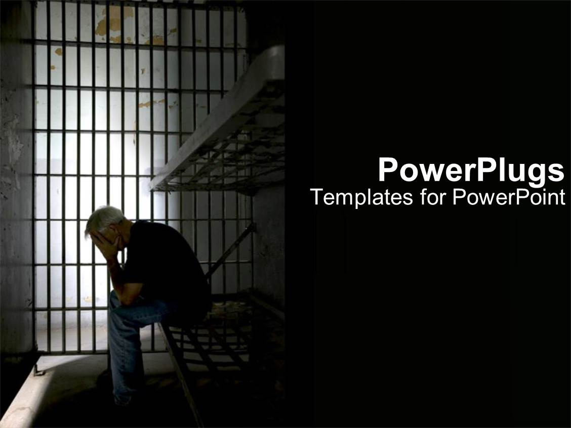 PowerPoint Template: person in dark prison cell for ...