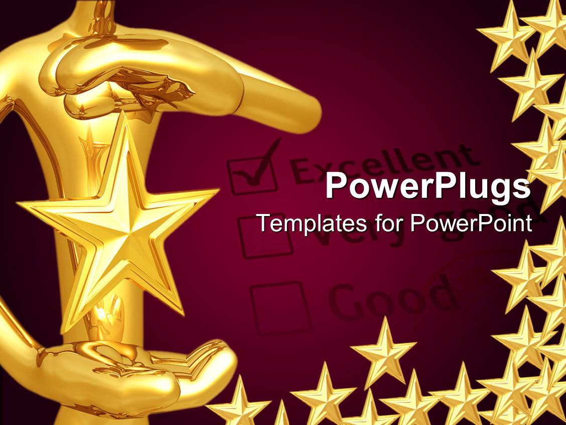 PowerPoint Template: a person holding the star with purple