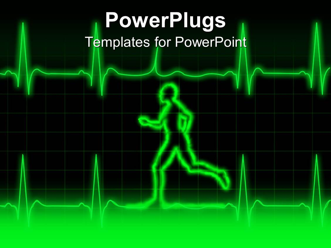 PowerPoint Template a person running along with a heartbeat line – Heart Rate Chart Template