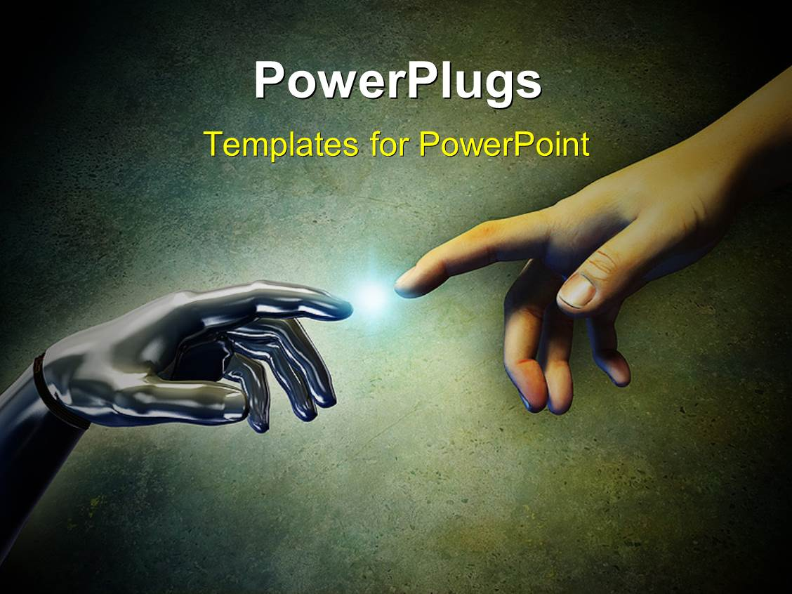 PowerPoint Template: a person trying to touch a robotic ...
