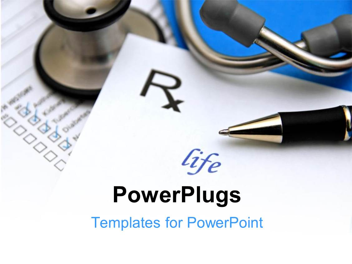 Pharmacy powerpoint templates crystalgraphics powerplugs powerpoint template with pharmacy symbol with ballpoint pen and stethoscope on medical report toneelgroepblik Choice Image