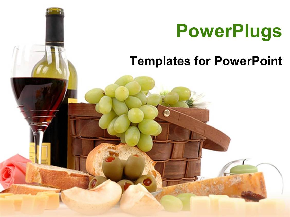 Wine cheese powerpoint templates crystalgraphics ppt having picnic basket with grapes bottle of wine glass of red wine cheese slices template size toneelgroepblik Image collections